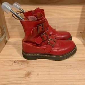 Dr. Martens Red Blake Buckle Boots Sz. 7